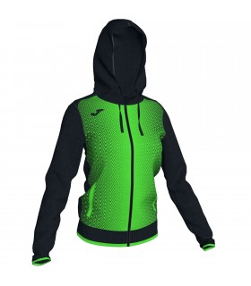Joma Ladies Hooded Jacket Supernova Black-FluoGreen