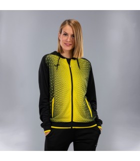 Joma Ladies Hooded Jacket Supernova Black-Yellow