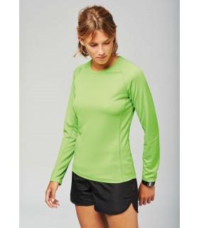 T-Shirt Sport Dame Manches Longues - Jaune Fluo
