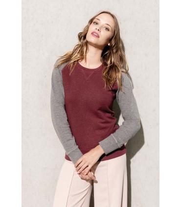 Ladies' organic crew neck raglan sleeve sweatshirt grey-black