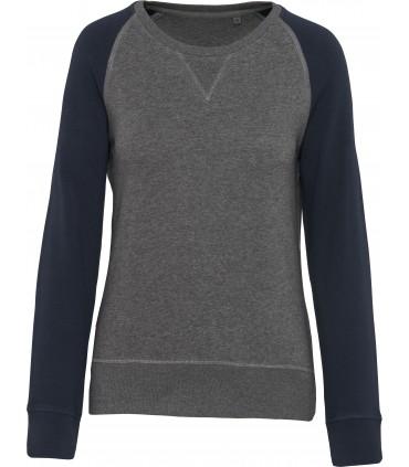 Sweat-shirt Bio col rond manches raglan femme gris-navy
