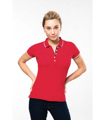 Ladies' short-sleeved piqué knit polo shirt red - navy