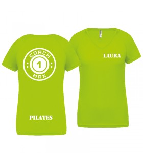 T-shirt dame coach1max lime Pilates