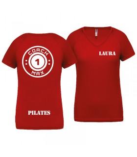 T-shirt dame coach1max rood Pilates
