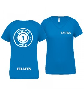 T-shirt dame coach1max aquablue Pilates