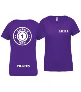 T-shirt dame coach1max violet Pilates