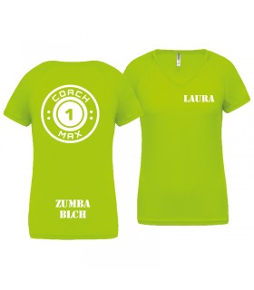 T-shirt woman coach1max lime Zumba