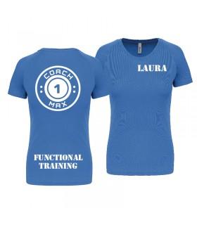 T-shirt col V femme coach1max aquablue Zumba