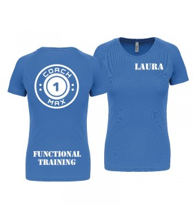T-shirt woman coach1max aquablue Zumba