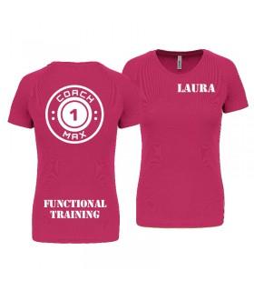 T-shirt col rond femme coach1max fushia FT