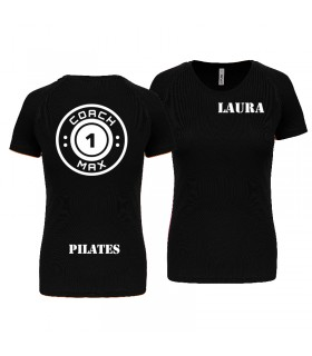 T-shirt col rond femme coach1max noir Pilates