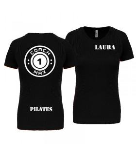 T-shirt dame coach1max zwart Pilates