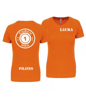 T-shirt dame coach1max orange Pilates