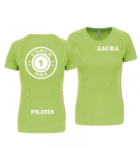 T-shirt col rond femme coach1max lime Pilates