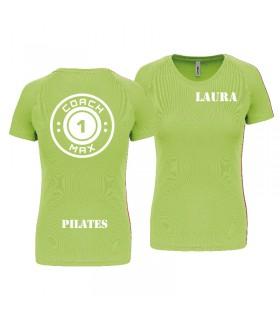 T-shirt woman coach1max lime Pilates
