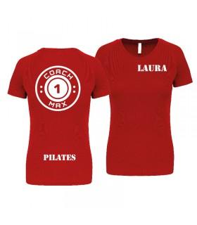T-shirt col rond femme coach1max rouge Pilates