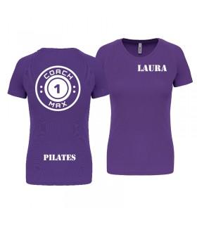 T-shirt col rond femme coach1max violet Pilates