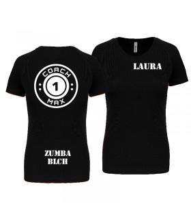T-shirt dame coach1max zwart Zumba
