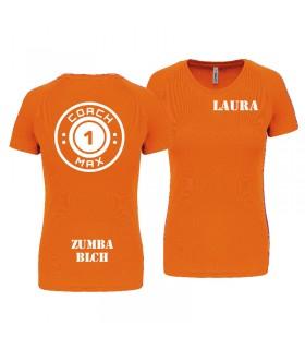 T-shirt col rond femme coach1max orange Zumba