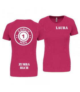T-shirt dame coach1max fushia Zumba