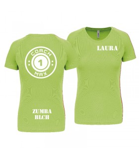 T-shirt dame coach1max lime Zumba