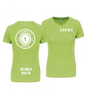 T-shirt woman coach1max lime Zumba