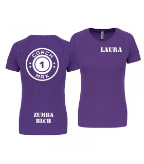 T-shirt col rond femme coach1max violet Zumba