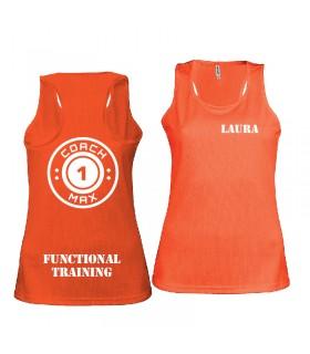 Débardeur sport femme coach1max orange FT