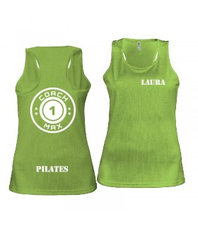 Ladies' sports vest coach1max lime Pilates