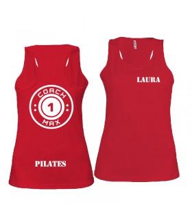 Débardeur sport femme coach1max rouge Pilates