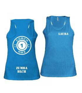 Débardeur sport femme coach1max aquablue Zumba