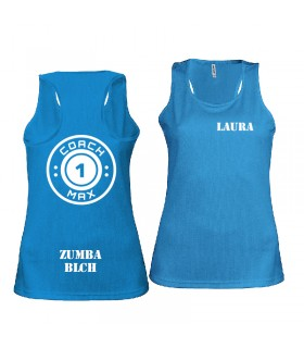 Ladies' sports vest coach1max aquablue Zumba