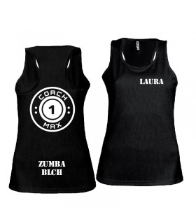 Débardeur sport femme coach1max noir Zumba