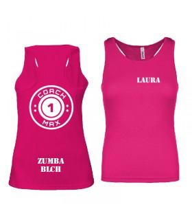 Débardeur sport femme coach1max fushia  Zumba