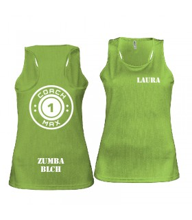 Ladies' sports vest coach1max lime Zumba