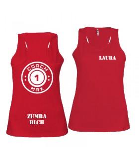 Débardeur sport femme coach1max rouge Zumba