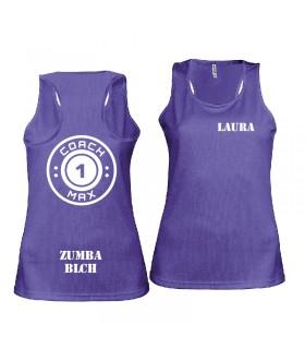Débardeur sport femme coach1max violet Zumba