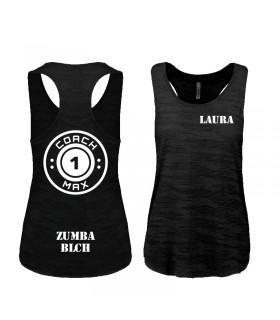 Débardeur sport femme 65/35 coach1max noir Zumba