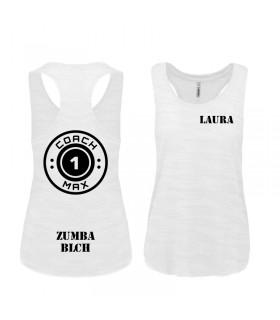 Ladies' sports vest 65/35 coach1max white Zumba