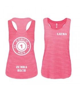 Ladies' sports vest 65/35 coach1max pink fluo Zumba