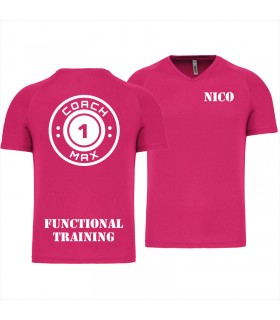 T-shirt col V homme coach1max fushia FT