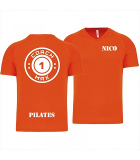 Heren-sport-t-shirt V-hals coach1max orange Pilates