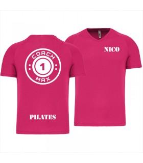 T-shirt col V homme coach1max fushia Pilates