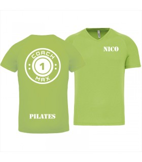 Heren-sport-t-shirt V-hals coach1max lime Pilates