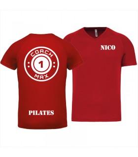 Men's V-neck coach1max red Pilates