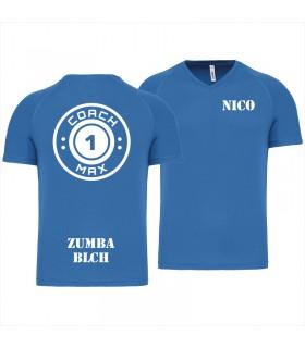 Heren-sport-t-shirt V-hals coach1max aquablue Zumba