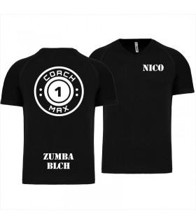 Heren-sport-t-shirt V-hals coach1max zwart Zumba