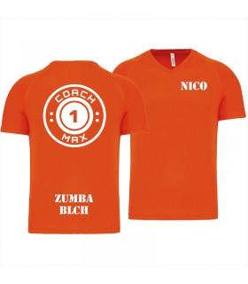 Heren-sport-t-shirt V-hals coach1max orange Zumba