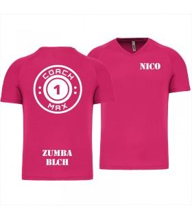 Heren-sport-t-shirt V-hals coach1max fushia Zumba