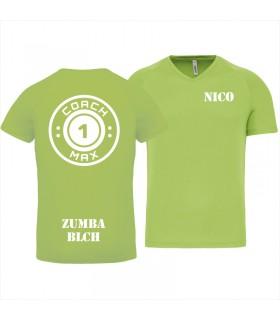 Heren-sport-t-shirt V-hals coach1max lime Zumba